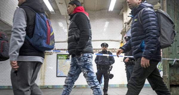 NYPD subway station police line