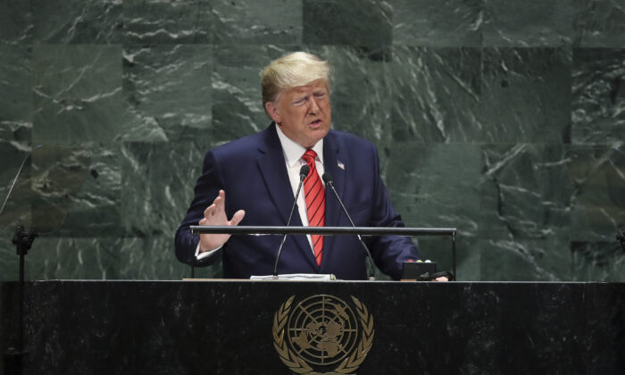 President Donald Trump addresses the United Nations General Assembly at UN headquarters on Sept. 24, 2019, in New York City. (Drew Angerer/Getty Images)