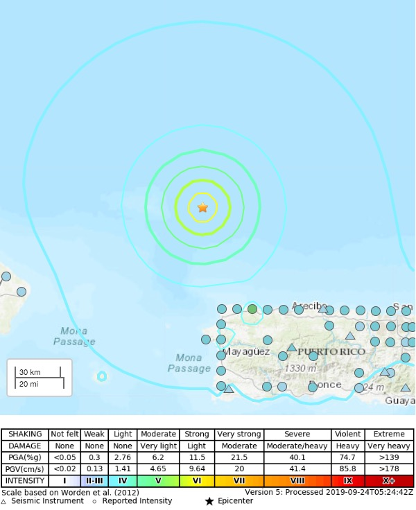 Shakemap of the Puerto Rico earthquake on Sept. 24 2019