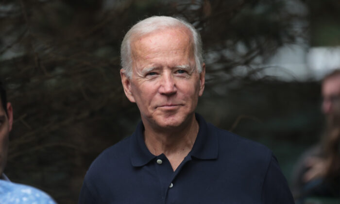 Former Vice President Joe Biden waits to speak at the Polk County Democrats' Steak Fry in Des Moines, Iowa on Sept. 21, 2019. (Scott Olson/Getty Images)