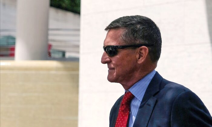 President Donald Trump's former National Security Adviser Michael Flynn leaves the E. Barrett Prettyman U.S. Courthouse in Washington on June 24, 2019. (Alex Wroblewski/Getty Images)