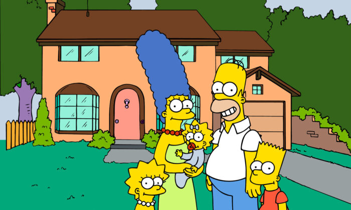 "This undated frame from the Fox series ""The Simpsons,"" shows the popular cartoon family posing in front of their home. (L-R) Lisa, Marge, Maggie, Homer, and Bart Simpson. (Fox Broacasting Co./AP Photo)"