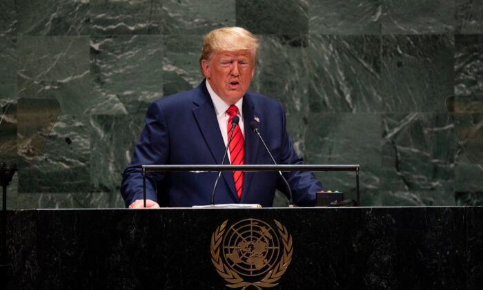 President Donald Trump speaks during the 74th Session of the United Nations General Assembly at UN Headquarters in New York on Sept. 24, 2019. (Johannes Eisele/AFP/Getty Images)