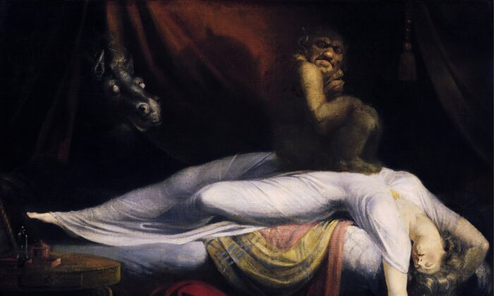 """The Nightmare,"" 1781, by Henry Fuseli. Oil on Canvas, 40 inches by 50 inches, Detroit Institute of Arts. (Public Domain)"
