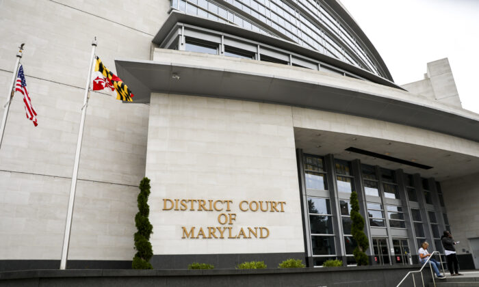 The District Court of Maryland building in Rockville, Montgomery County, Md., on Sept. 13, 2019. (Charlotte Cuthbertson/The Epoch Times)