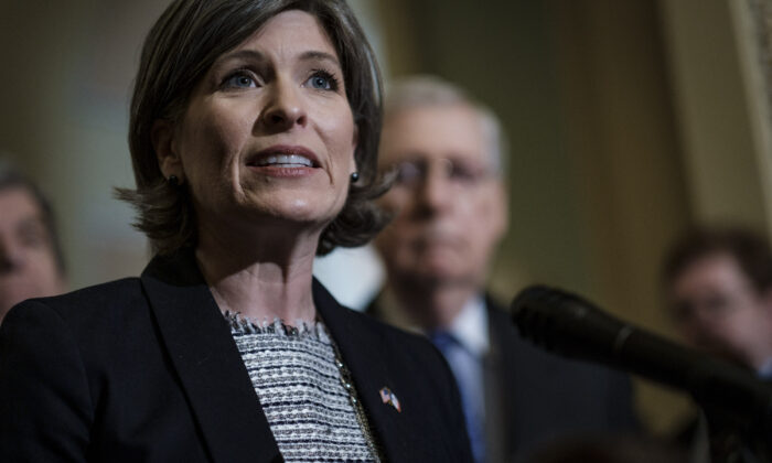 Sen. Joni Ernst (R-Iowa) in Washington on April 30, 2019. (Pete Marovich/Getty Images)
