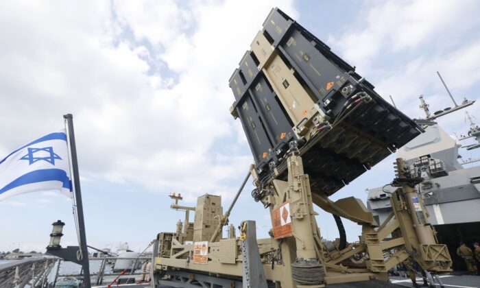 An Israeli naval Iron Dome defense system, designed to intercept and destroy incoming short-range rockets and artillery shells, in the northern port of Haifa, Israel, on Feb. 12, 2019. (Jack Guez /AFP/Getty Images)