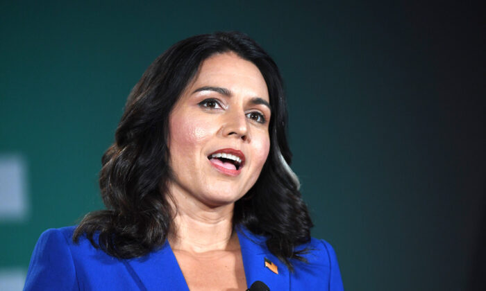 Democratic presidential candidate and U.S. Rep. Tulsi Gabbard (D-Hawaii) speaks during the 2020 Public Service Forum hosted by the American Federation of State, County and Municipal Employees (AFSCME) at UNLV in Las Vegas, Nevada on Aug. 3, 2019. (Ethan Miller/Getty Images)