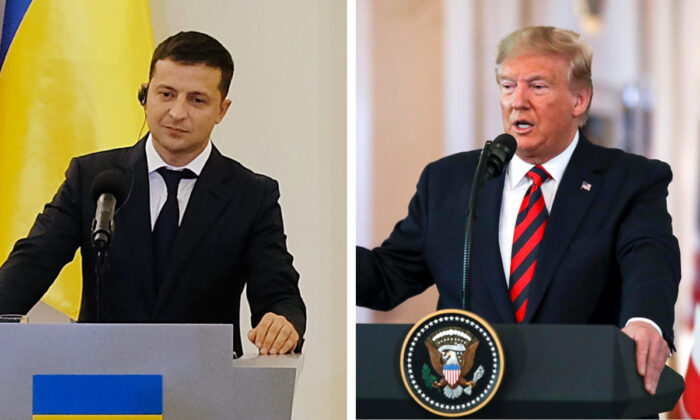 (L): Ukrainian President Volodymyr Zelensky in Warsaw, Poland on Aug. 31, 2019. (Sean Gallup/Getty Images); President Donald Trump at a press conference in the East Room of the White House in Washington on Sept. 20, 2019. (Charlotte Cuthbertson/The Epoch Times)