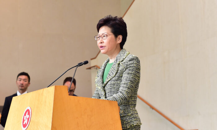 Hong Kong leader Carrie Lam speaks during a press conference in Hong Kong on Sept. 24, 2019. (Bill Cox/The Epoch Times)