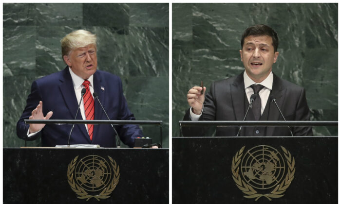 (L)-President Donald Trump addresses the United Nations General Assembly at UN headquarters in New York City on Sept. 24, 2019. (Photo by Drew Angerer/Getty Images) (R)-President of Ukraine Volodymyr Zelensky addresses the United Nations General Assembly at UN headquarters on Sept. 25, 2019. (Photo by Drew Angerer/Getty Images)