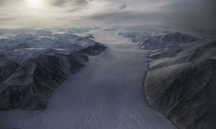 A section of a glacier is seen from NASA's Operation IceBridge research aircraft above Ellesmere Island, Canada, on March 29, 2017.   (Mario Tama/Getty Images)