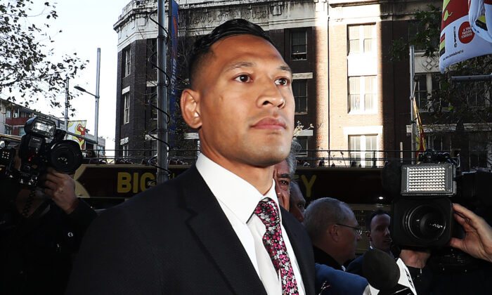 Israel Folau arrives ahead of his conciliation meeting with Rugby Australia at Fair Work Commission in Sydney, Australia, on June 28, 2019. (Mark Metcalfe/Getty Images)