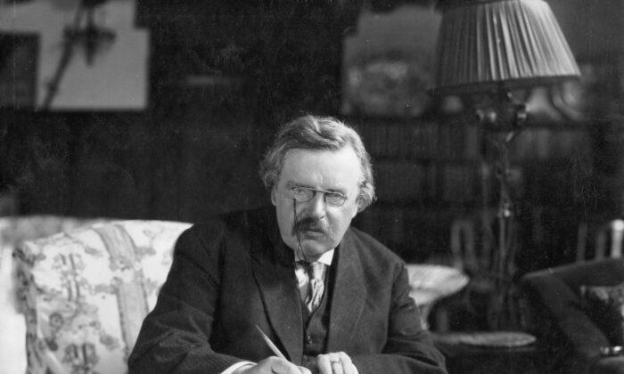 G.K. Chesteron at work at Crisis Magazine. (Public Domain)