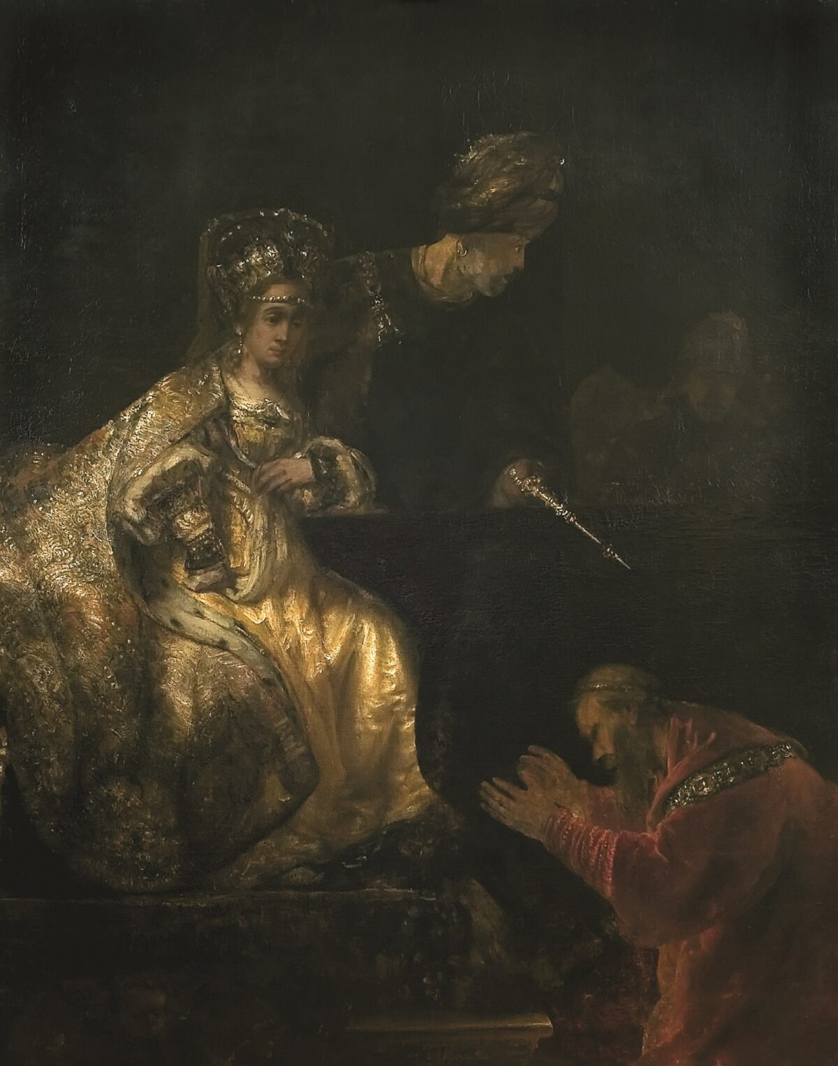 haman begging for mercy by Rembrandt