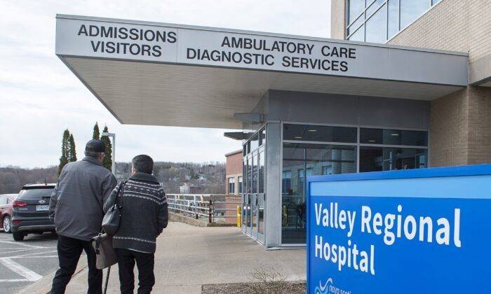 People walk toward the entrance to the Valley Regional Hospital in Kentville, N.S., on April 30, 2019. The number of doctors in Canada is growing at a rate more than double that of the population. (THE CANADIAN PRESS/Andrew Vaughan)