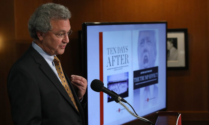 """Richard Cohen, then-president of the Southern Poverty Law Center, speaks during a press conference calling on President-elect Donald Trump to """"immediately and forcefully publicly denounce racism and bigotry"""" in Washington on Nov. 29, 2016. (Win McNamee/Getty Images)"""