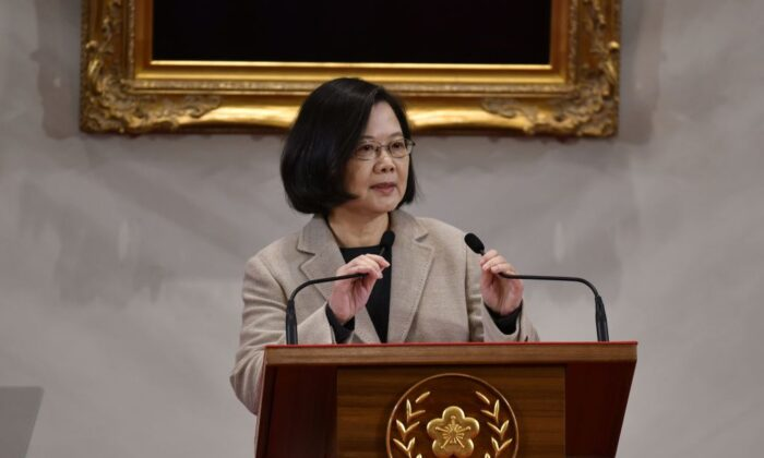 Taiwan's President Tsai Ing-wen speaks during a press conference at the Presidential Palace in Taipei on Jan. 1, 2019. (Sam Yeh/AFP/Getty Images)