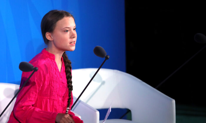 Greta Thunberg speaks at the United Nations (U.N.) where world leaders are holding a summit on climate change in New York City on Sept. 23, 2019. (Spencer Platt/Getty Images)