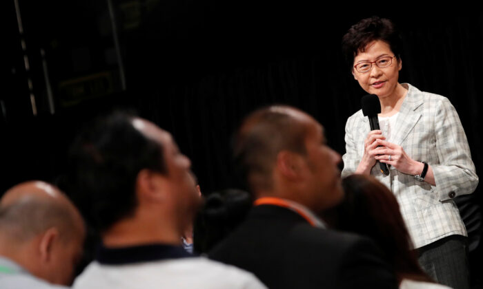 Hong Kong Chief Executive Carrie Lam attends the first community dialogue session in Hong Kong, China on Sept. 26, 2019. (Tyrone Siu/Reuters)