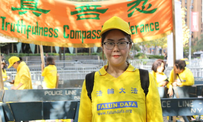 Falun Gong practitioner Jiang Yinghuan at a demonstration at the United Nations Plaza in New York, N.Y., on Sept. 25, 2019. (Eva Fu/The Epoch Times)