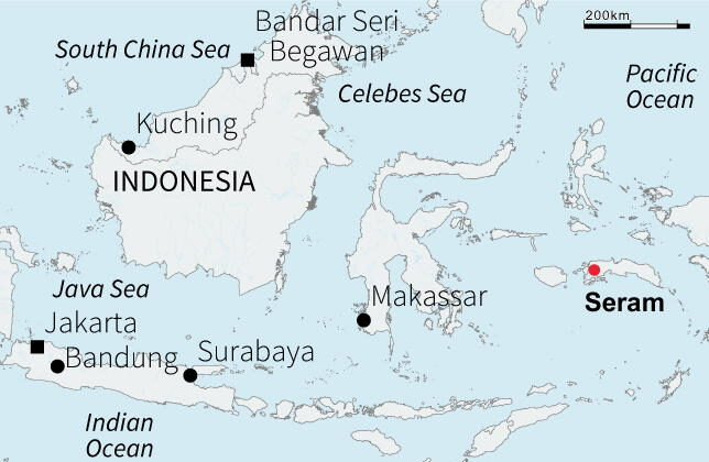 Map of Seram island in the Indonesian archipelago. (Reuters)