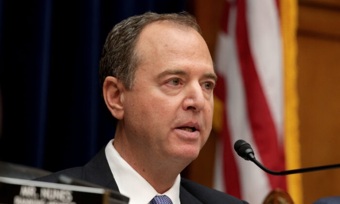 House Intelligence Committee chairman Rep. Adam Schiff (D-Calif.) delivers opening remarks at a hearing featuring Acting Director of National Intelligence Joseph Maguire on Capitol Hill in Washington on Sept. 26, 2019. (Alex Wong/Getty Images)