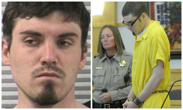 Alex Whipple in a file booking mugshot and during an appearance in court for his sentencing on Sept. 24, 2019. (Logan County Police Department; Eli Lucero/The Herald Journal via AP, Pool)