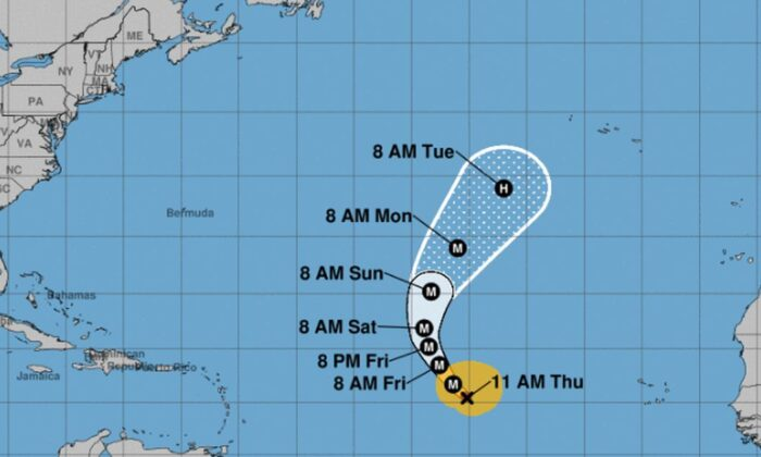 The U.S. National Hurricane Center (NHC) said Hurricane Lorenzo is now a Category 4 storm but is not expected to affect land in the near future. (NHC)