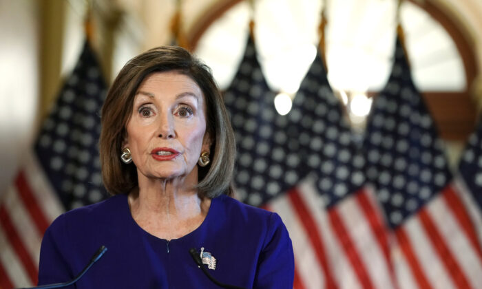 House Speaker Nancy Pelosi (D-Calif.) speaks to the media at the Capitol Building in Washington, on Sept. 24, 2019. (Alex Wong/Getty Images)