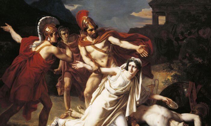 """Antigone Buries Polynices,"" Sébastien Norblin 1825, Paris, National School of Fine Arts. (US-PD)"