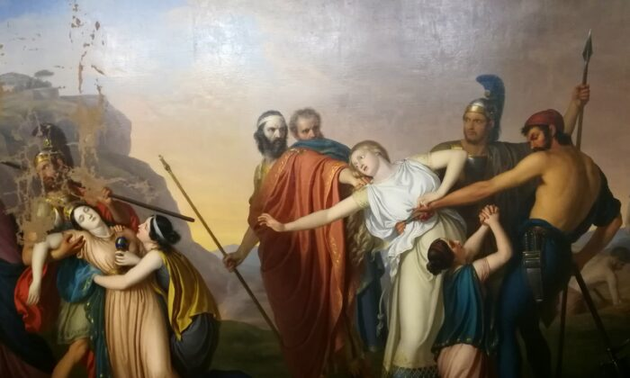 """Antigone Condemned to death by Creon,"" 1845, Giuseppe Diotti. Oil on canvas. (Public Domain)"