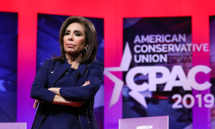 Judge Jeanine Pirro speaks at the CPAC convention in National Harbor, Md., on March 2, 2019. (Samira Bouaou/The Epoch Times)