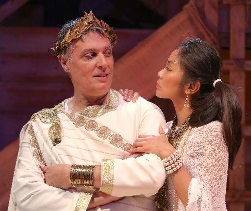 Robert Cuccioli and Teresa Avia Lim as Caesar and Cleopatra in a new spin on George Benard Shaw's play. (Carol Rosegg)
