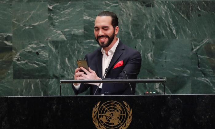 Nayib Bukele, President of El Salvador, takes a selfie before addressing the 74th session of the United Nations General Assembly at U.N. headquarters in New York City, New York, on Sept. 26, 2019. (Lucas Jackson/REUTERS)