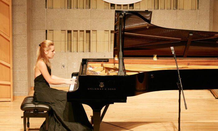 NTD International Piano Competition's contestant Olena Miso performs at the Baruch Performing Arts Center in New York City, on Sept. 27, 2019. (Zhang Xuehui/The Epoch Times)