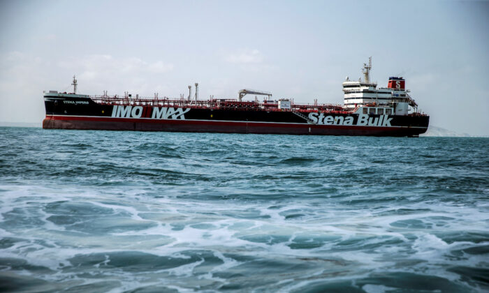 Stena Impero, a British-flagged vessel owned by Stena Bulk, is seen at undisclosed place off the coast of Bandar Abbas, Iran, on Aug. 22, 2019. (Nazanin Tabatabaee/WANA (West Asia News Agency/File Photo via Reuters)