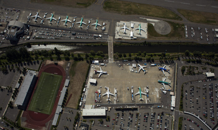 Boeing 737 MAX airplanes are seen parked for storage at a Boeing facility on Aug. 13, 2019 in Renton, Washington. (David Ryder/Getty Images)