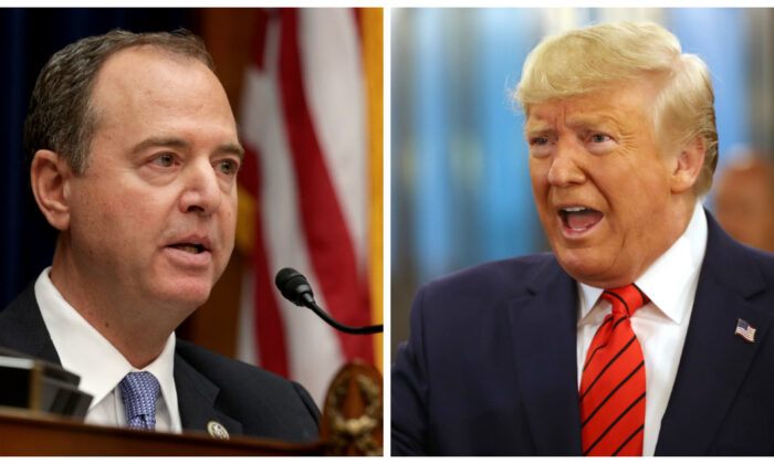 (L)-Committee chairman Rep. Adam Schiff (D-Calif.) delivers opening remarks at a hearing featuring Acting Director of National Intelligence Joseph Maguire testifying before the House Select Committee on Intelligence in the Rayburn House Office Building on Capitol Hill in Washington on Sept. 26, 2019. (Alex Wong/Getty Images) (R)-President Donald Trump speaks to the media at the United Nations in New York on Sept. 24, 2019. (Spencer Platt/Getty Images)