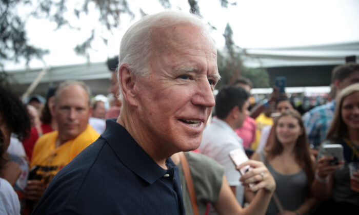 Democratic presidential candidate, former Vice President Joe Biden greets guests at the Polk County Democrats' Steak Fry on Sept. 21, 2019 in Des Moines, Iowa. (Scott Olson/Getty Images)
