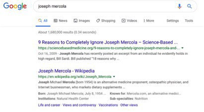 Mercola web search screenshot