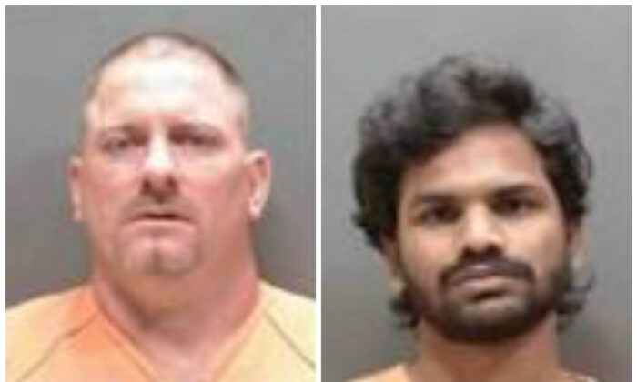 William Heagney (L), a handyman, and Manikanta Sunkara were two of 23 men arrested on sex charges in an operation in Florida. (Sarasota County Sheriff's Office)