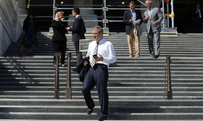 Rep. Jim Jordan (R-Ohio) (C) leaves the U.S. Capitol Building following final votes before a two-week state work period September 27, 2019 in Washington, DC. (Chip Somodevilla/Getty Images)