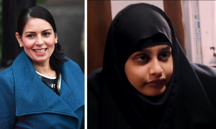 L - Priti Patel, Secretary of State for the Home Department leaves her hotel for the Conservative Party Conference in Manchester, England, on Sept. 29, 2019. R - Shamima Begum being interviewed by Sky News in northern Syria on Feb. 17, 2019. (Jeff J Mitchell/Getty Images; Reuters)