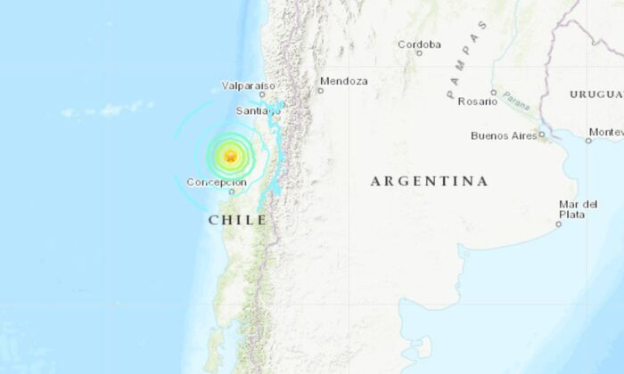 The tremor was centered some 83 miles west of Talca, Chile. (USGS)