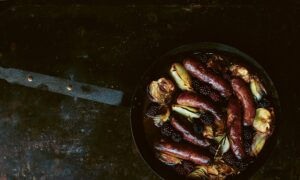 Baked Sausages, Apples, and Blackberries With Mustard and Maple Syrup