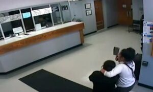 Video Shows Moment Cleaver-Wielding Woman Takes Hostage Inside Police Station