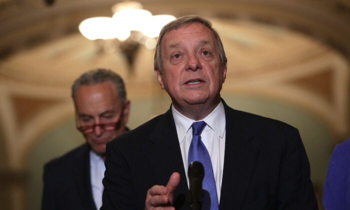 Senate Minority Whip Richard Durbin (D-Ill.) (R) speaks as Minority Leader Chuck Schumer (D-NY) (L) listens at the U.S. Capitol in Washington on June 11, 2019.  (Alex Wong/Getty Images)