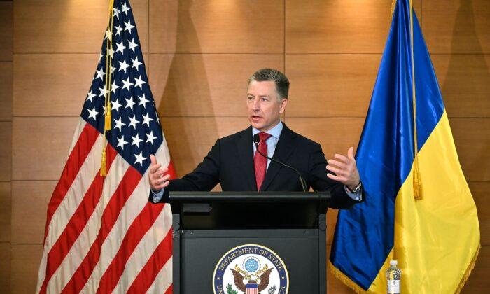 U.S. Ambassador to NATO and U.S. special envoy for Ukraine Kurt Volker speaks in Kiev on July 27, 2019. (Sergei Supinsky/AFP/Getty Images)