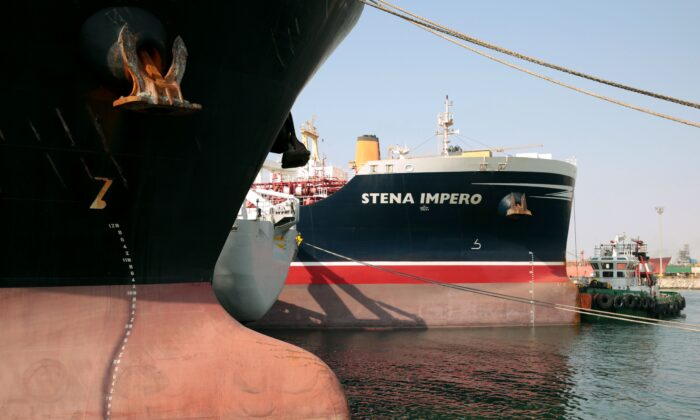The British-flagged oil tanker Stena Impero is docked in Dubai after sailing from the Iranian port of Bandar Abbas where it was held for over two months, on Sept. 28, 2019.(Christopher Pike/AFP/Getty Images)